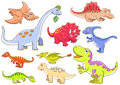 Cute dinosaurs eps file simple gradients no effects no mesh no transparencies all separate group easy editing Stock Images