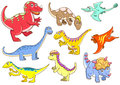 Cute dinosaurs eps file simple gradients no effects no mesh no transparencies all separate group easy editing Royalty Free Stock Photography