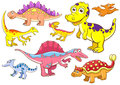 Cute dinosaurs eps file simple gradients no effects no mesh no transparencies all separate group easy editing Royalty Free Stock Photos