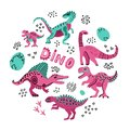stock image of  Cute dinosaurs hand drawn color vector illustration in round shape. Dino characters cartoon circle texture. Prehistoric
