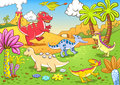 Cute dinosaurs prehistoric scene eps file simple gradients no effects no mesh no transparencies all separate group layer easy Royalty Free Stock Images
