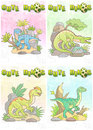 Cute dinosaurs set of cards