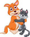 Cute dog and cat hugging