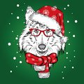 Cute dog in a Christmas hat and sunglasses. Vector illustration for greeting card, poster, or print on clothes. Pedigree dog. Royalty Free Stock Photo
