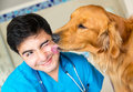 Cute dog giving kiss to vet checkup Stock Image