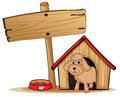 A cute dog at his dog house illustration of on white background Stock Photo