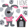 Cute dog with house vector illustration Royalty Free Stock Photo