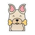 Cute dog mascot with bone