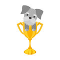 Cute dog mascot with trophy
