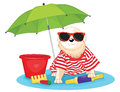 Cute dog sitting under umbrella vector illustratio Stock Image