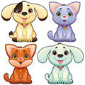 Cute dogs and cats. Royalty Free Stock Photography