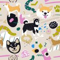Cute Dogs Seamless Pattern. Childish Background with Akita Inu and Abstract Elements. Baby Freehand Doodle for Fabric