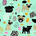 Cute Dogs Seamless Pattern. Childish Background with Pug Puppies and Abstract Elements. Baby Freehand Doodle for Fabric