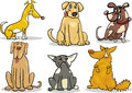 Cute dogs set cartoon illustration of funny or puppies pet Stock Photos
