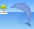 Cute dolphin against tropical seaside background Stock Photo