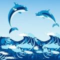 Cute dolphins aquatic marine nature ocean blue mammal sea water wildlife animal vector illustration.