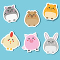 Cute domestic animals. Stickers set. Vector illustration. Cat, rabbit, puppy, pig, hamster