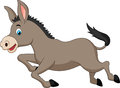 Cute donkey cartoon running illustration of Stock Photos