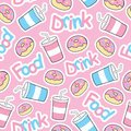 Cute donut seamless pattern with soft drink on pink background