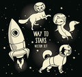 Cute doodle animal-astronauts and retro style rocket floating in space