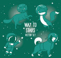 Cute doodle astronaut and animal-astronauts and retro style rocket floating in space