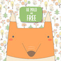 Cute doodle background, brochure, cover with orange fox Royalty Free Stock Photo