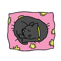 Cute doodle cat sleeps on the pillow vector image Royalty Free Stock Images