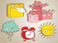 Cute doodle characters set for children mailbox gift cloud clock sun illustration is hand drawn with shadows elements are and in Stock Photography