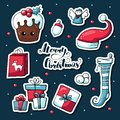 Cute doodle Christmas stickers in cartoon style. Vector hand drawn images of Christmas cake, deer, gift, sweets, angel