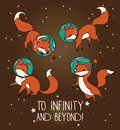 Cute doodle fox-astronauts floating in space