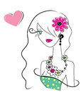 Cute doodle girl with heart illustration of a Royalty Free Stock Photos