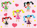 Cute  doodle girls Royalty Free Stock Images