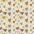Cute doodle hearts seamless wallpaper Stock Photography
