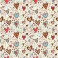 Cute doodle hearts seamless wallpaper Royalty Free Stock Image