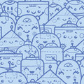 Cute doodle robots seamless pattern background vector with hand drawn elements Royalty Free Stock Photos