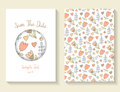 Cute doodle save the date card, invitation, brochure, cover Royalty Free Stock Photo