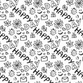 Cute doodle seamless pattern with hearts, flowers, ladybirds, smiles, butterfly and letter. Happy day background. Royalty Free Stock Photo
