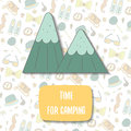 Cute doodle time for camping postcard Royalty Free Stock Photo