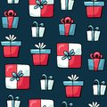 Cute doodles Christmas elements. Vector hand drawn illustration. Christmas presents pattern. Design for printed, fabric