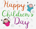 Cute Doodles of a Pair of Children Celebrating Their Day, Vector Illustration