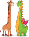 Cute Dragon and Giraffe Royalty Free Stock Image