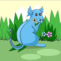 Cute dragon sitting on a green meadow with flowers and eats grass. Vector Royalty Free Stock Photo
