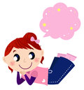 Cute dreaming girl with speech bubble Stock Photo