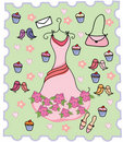 Cute dress cupcake background Stock Images