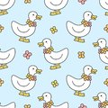 Cute duck and flowers necklace Seamless Pattern Background