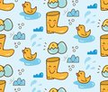 Cute duck toys with boots seamless background