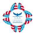 Cute eagle with american symbol emblem Royalty Free Stock Photo