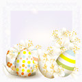 Cute easter background with clear space and colored eggs Stock Photos