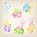 Cute easter bunnies set of six colorful Stock Photography