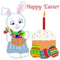 Cute Easter Bunny with basket with flowers and painted eggs